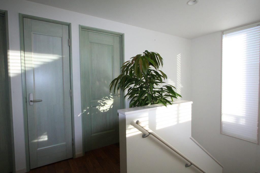 綺麗な緑を使ったドアを採用